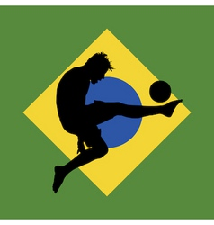 Football player Brazil flag vector