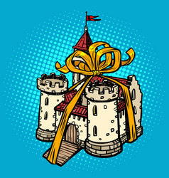 gift ribbon medieval castle fairy kingdom real vector image
