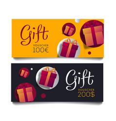 gift voucher template with monetary value and vector image