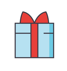 Gift wrapped box concept line icon vector