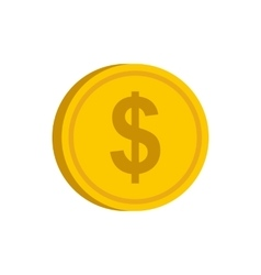 Gold coin with dollar sign icon flat style vector image