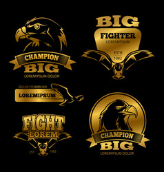 Golden eagle heraldry labels logos vector