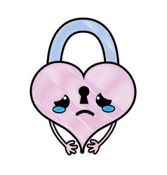 Grated crying heart padlock kawaii personage vector