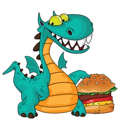 great dragon and burger vector image