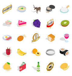 Grocery shopping icons set cartoon style vector
