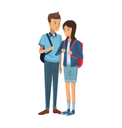 guy and girl students standing with backpack vector image