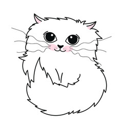 hand drawn cute white cat isolated on white vector image