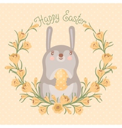 Happy Easter card with cute bunny vector image