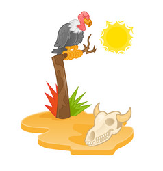 hot desert with vulture vector image