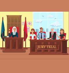 Jury trial in process flat vector