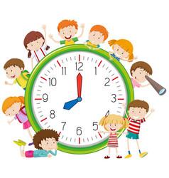 Kids around a clock vector