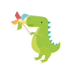 Kids toy green dinosaur with pinwheel toys vector
