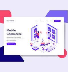 landing page template mobile commerce concept vector image