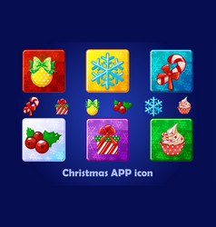 merry christmas and new year square app icons set vector image