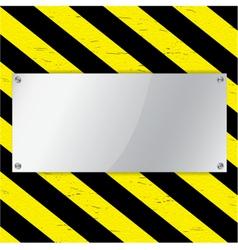 Metal frame on warning stripe background vector