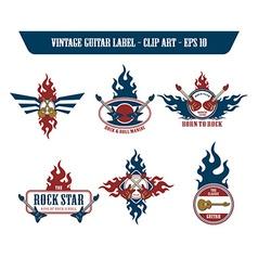 Music guitar label sticker vector