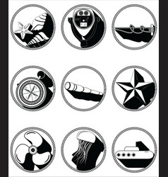 Nautical elements II icons in knotted circle vector image