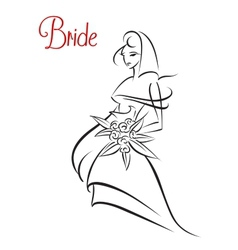 Outline sketch silhouette of young bride vector