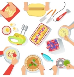People Cooking Sweet Pastry Together View From vector