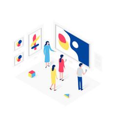 People in art gallery isometric concept vector