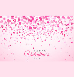 pink pattern random falling hearts confetti vector image