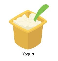 Plain yogurt bowl vector