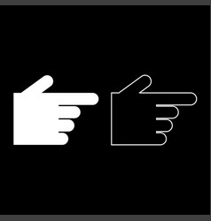 pointing hand icon set white color flat style vector image