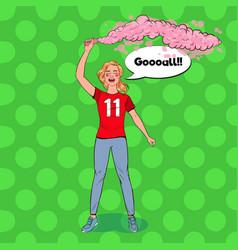 pop art woman soccer fan celebrating victory vector image