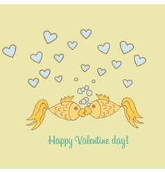 Postcard Valentine Day goldfish vector