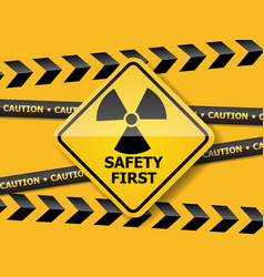 radiation warning sign on yellow wall vector image