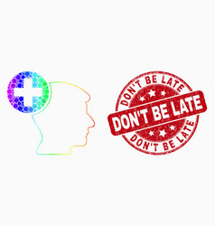 Rainbow colored dotted head medicine icon vector
