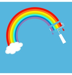 Rainbow one cloud in the sky and paint roller vector