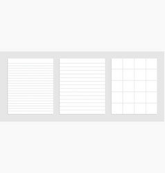 Realistic blank dotted lines paper sheet set vector