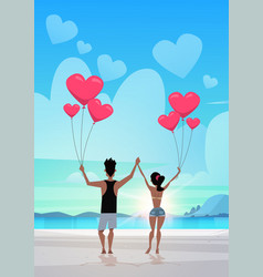 Rear view couple holding pink heart shape air vector