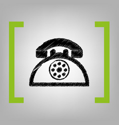 retro telephone sign black scribble icon vector image