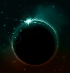 rising sun over planet space background vector image