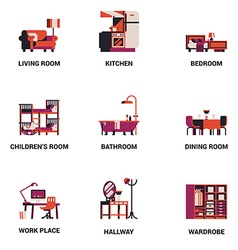 Room Icon Set vector image