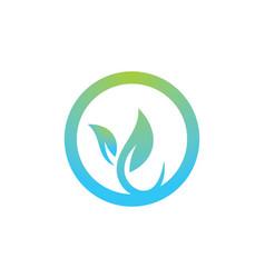 Round leaf organic logo vector