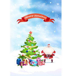 santa near christmas tree with merry christmas vector image