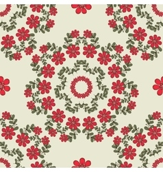 Seamless Pattern Mandala Red Flowers vector image
