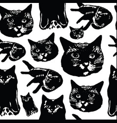 seamless pattern with ink graphic elements - cats vector image