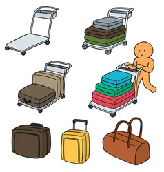 Set of airport luggage cart vector
