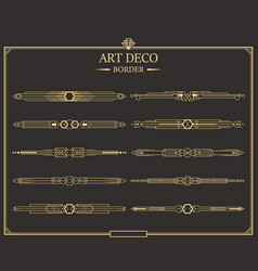 Set of art deco gold calligraphic page dividers vector