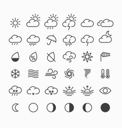 Set of thin line weather icons vector