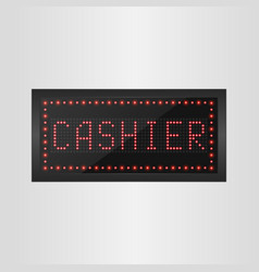 shining retro light banner cashier sign vector image
