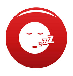 Sleep smile icon red vector