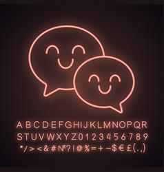 Smiling speech bubbles neon light icon vector