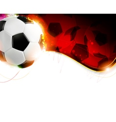 Soccer ball on wavy red background vector