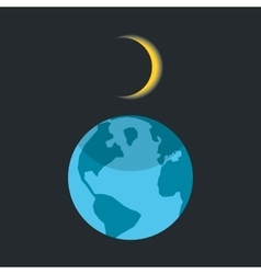 solar eclipse with shadow on planet earth vector image