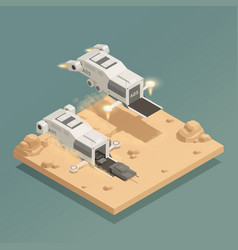 Space ship isometric composition vector